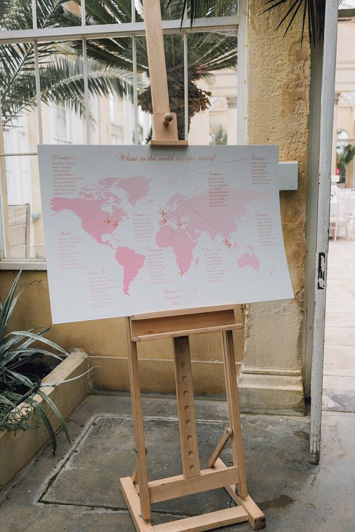 Pink Map Of The World Table Plan For Wedding