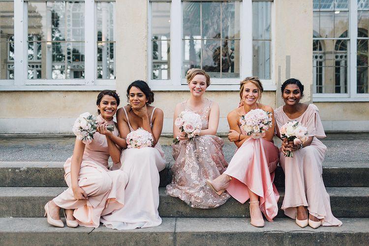 Bridesmaids In Pink High Street Wedding Dresses
