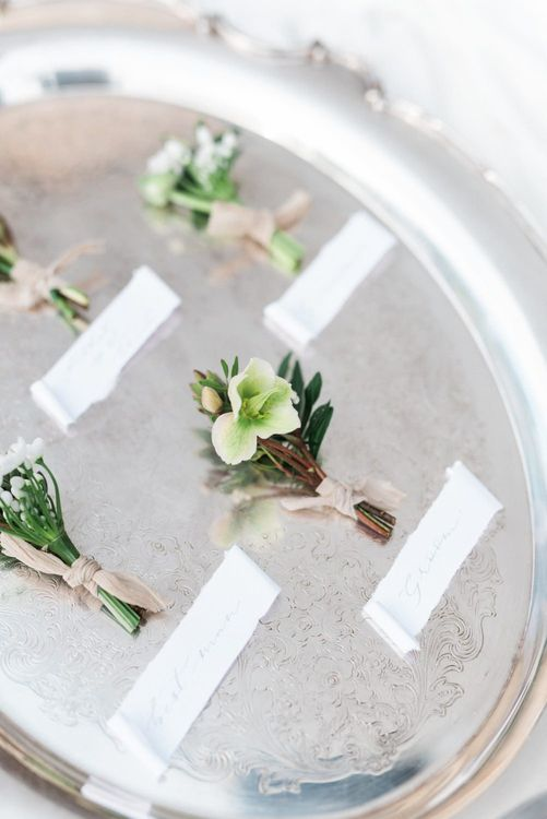 Buttonholes | Romantic Blush Wedding Inspiration by The Wedding Stylist at Notley Abbey with Joanna Truby Flowers | Emma Pilkington Photography | Opaline Films