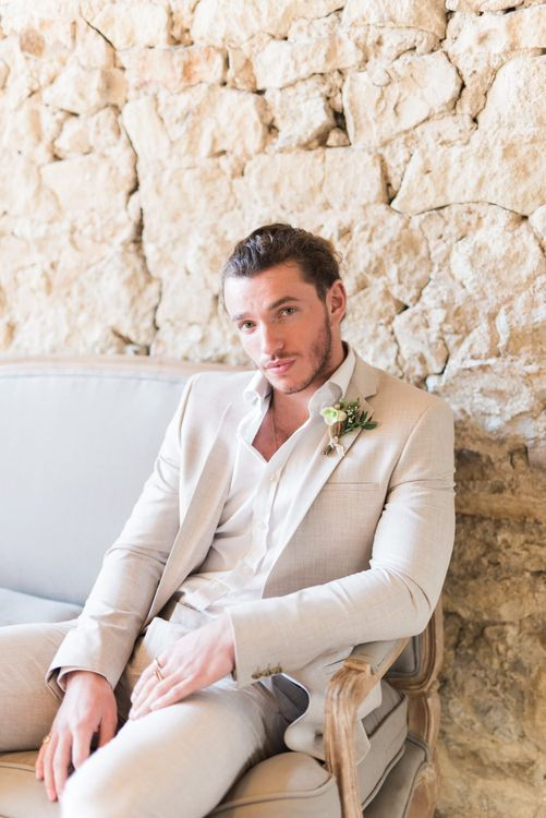 Groom in Beige Linen Suit | Romantic Blush Wedding Inspiration by The Wedding Stylist at Notley Abbey with Joanna Truby Flowers | Emma Pilkington Photography | Opaline Films