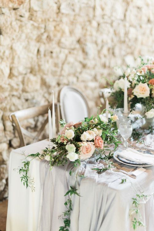 Tablescape | Romantic Blush Wedding Inspiration by The Wedding Stylist at Notley Abbey with Joanna Truby Flowers | Emma Pilkington Photography | Opaline Films