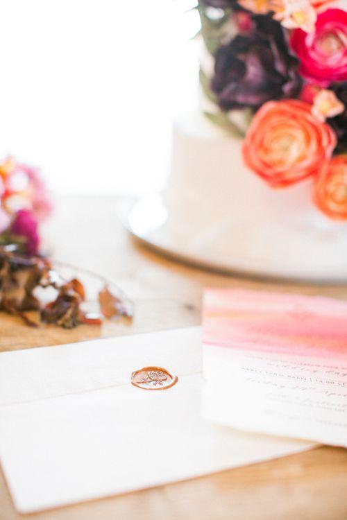Wedding Cake With Brightly Coloured Sugar Flowers