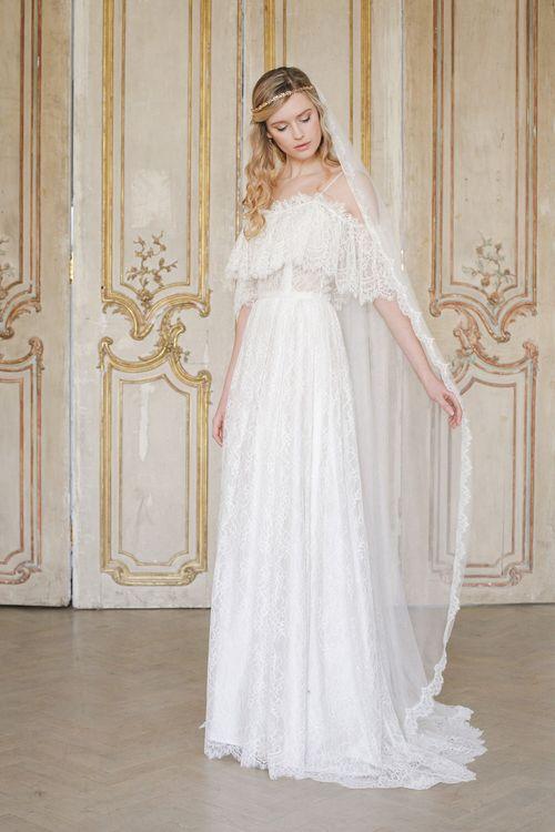 Mia Eyelash lace wedding veil with silk style tulle