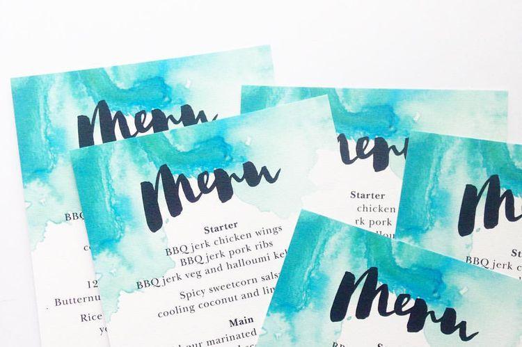 Wedding Menu. Brush Lettering by Olive & Bramble.