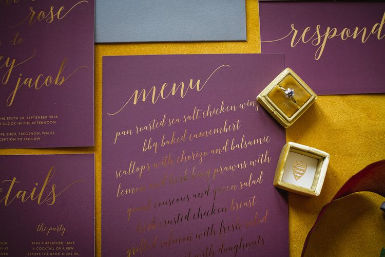 Wedding Menu. Calligraphy by Anon