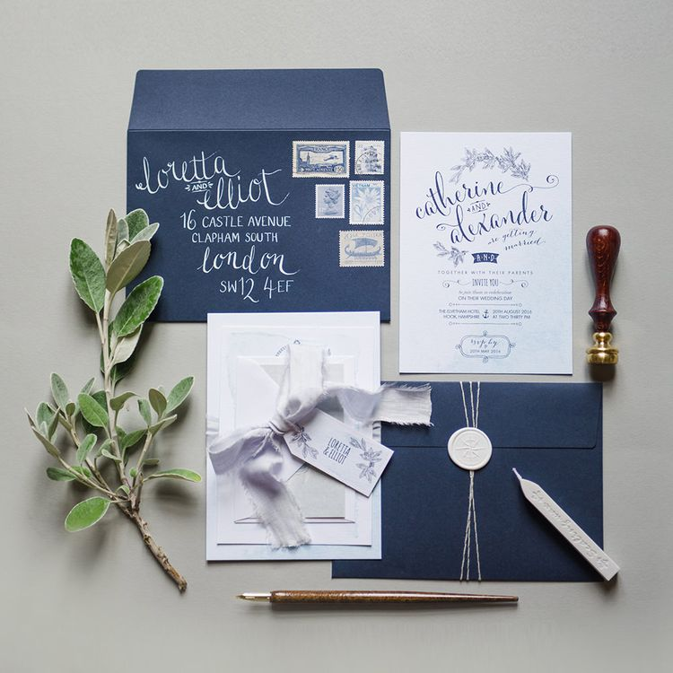 Wedding Stationery with Calligraphy by Paperknots