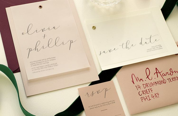 Wedding Stationery with Calligraphy by The Noteur