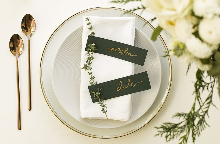 Wedding name place settings by The Noteur