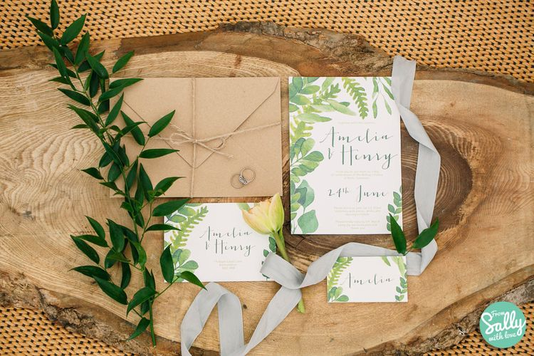 Greenery Wedding Stationery with Calligraphy by From Sally with Love