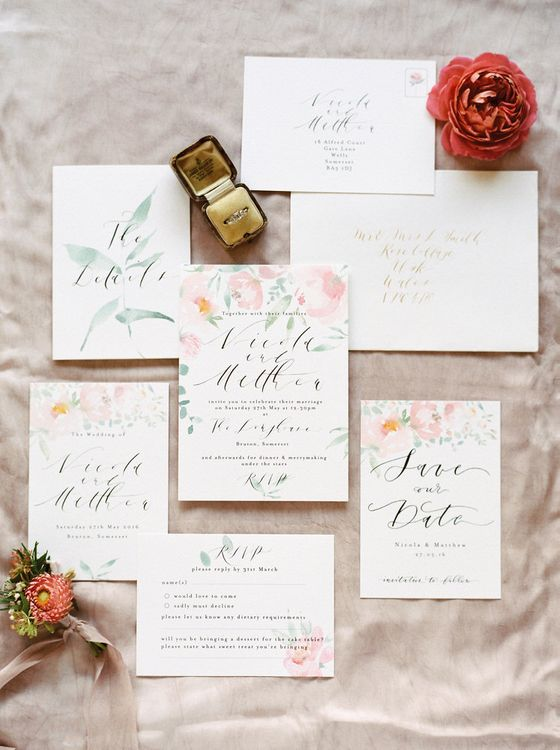 Floral Wedding Stationery with Calligraphy by Gemma Milly Calligraphy