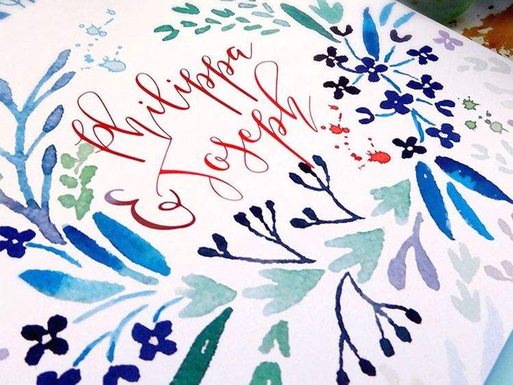 Floral Bright Wedding Stationery with Calligraphy by Ginny & I