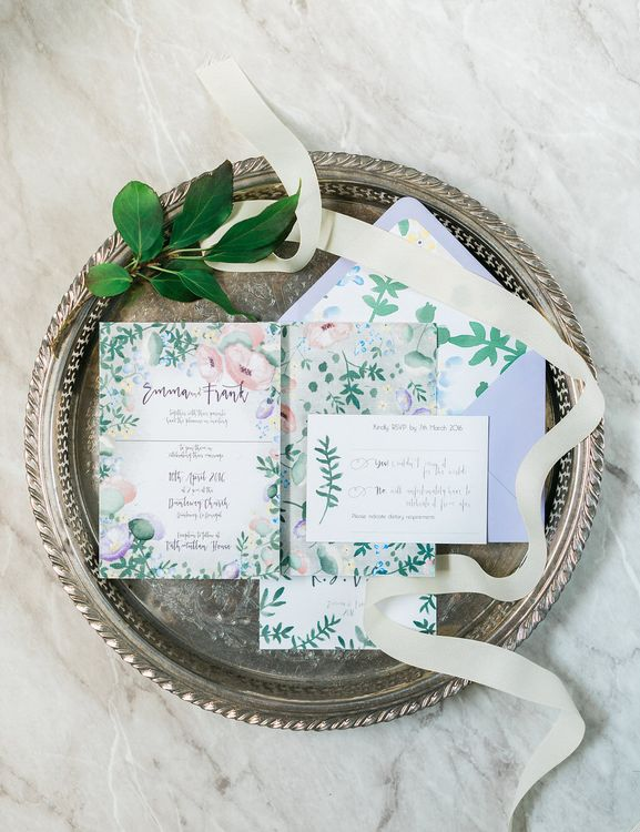 Floral Wedding Stationery with Calligraphy by Lilly