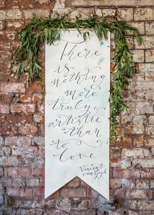 Wedding Banner with calligraphy by De Winton Paper Co