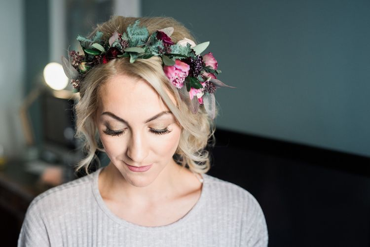 Bride In Floral Crown With Berry Tones