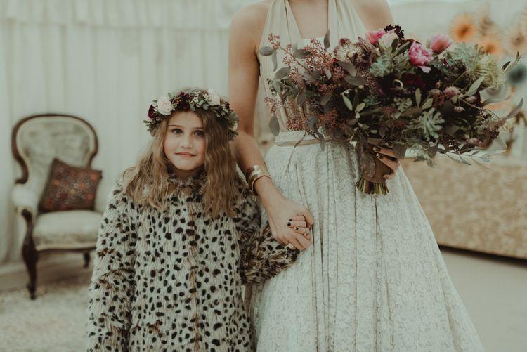 Flower Girl With Dalmatian Print Faux Fur Jacket & Flower Crown