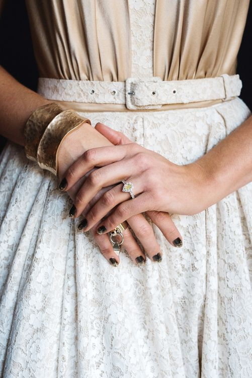 Bride With Dark Nail Polish