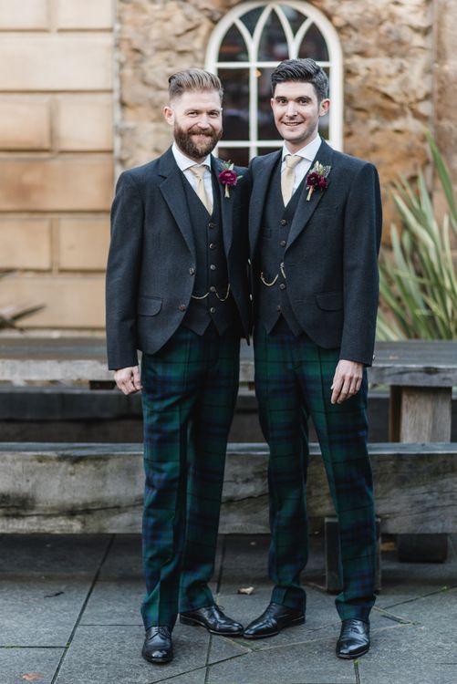 Groom & Groomsmen In Tartan Trousers