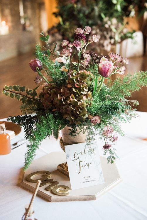 Autumnal Table Arrangements For Wedding