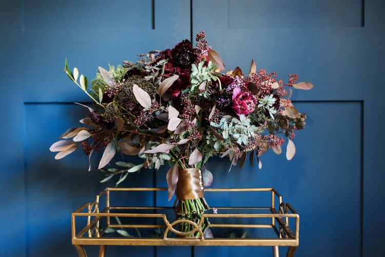 Gorgeous Autumn Fall Wedding Bouquet In Berry Tones