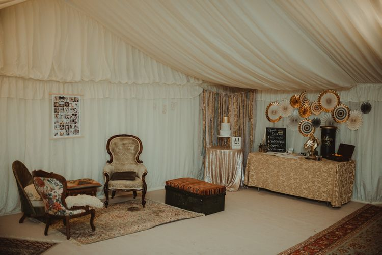 Vintage Furniture Seating Area In Marquee For Wedding