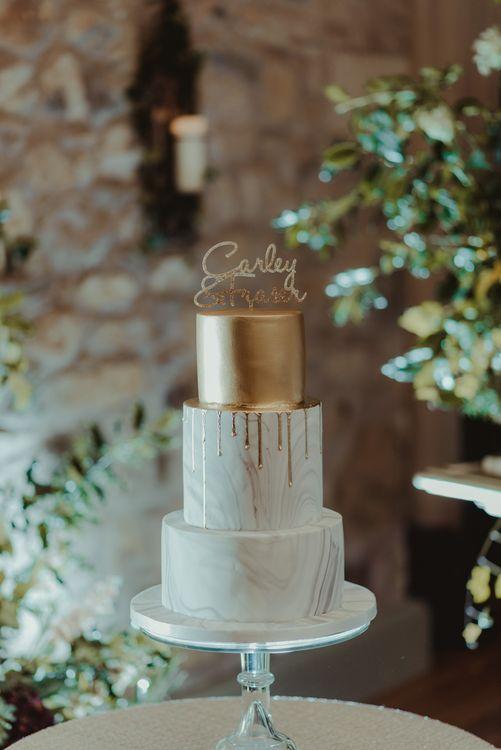 Gold & White Marble Wedding Cake