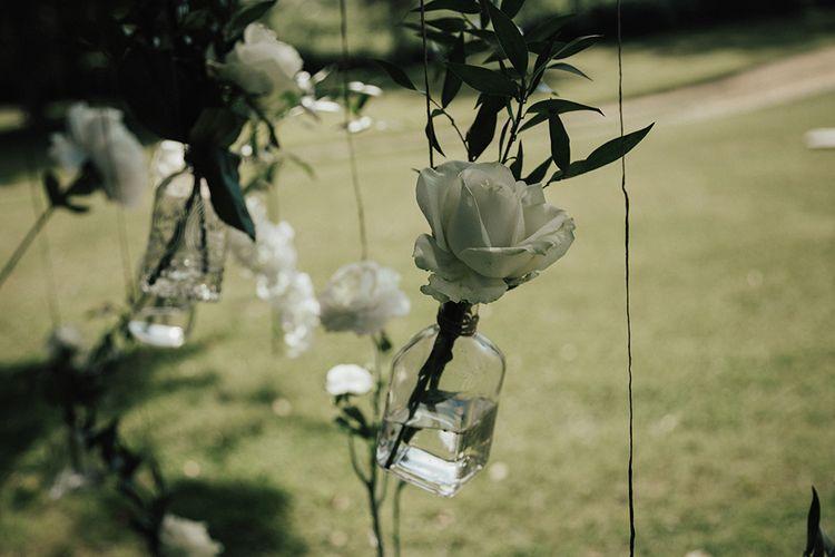 Hanging Flowers In Jam Jars For Wedding
