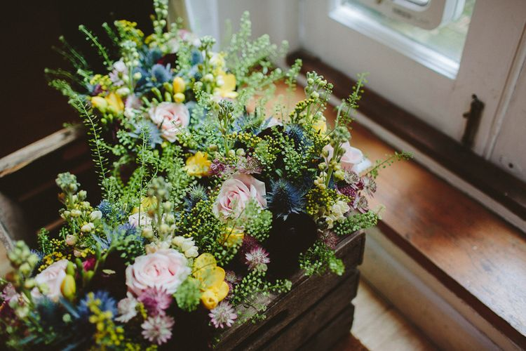 Bohemian Wedding Bouquet With Pinks and Yellows