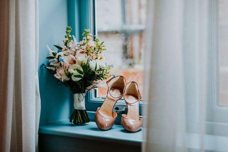 Pink Bridal Bouquet | Nude Christian Louboutin Pumps | Benjamin Stuart Photography