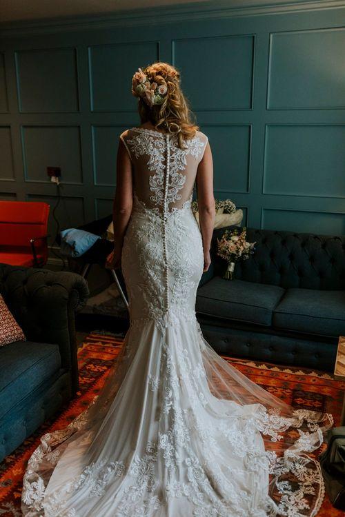 Bride Getting Ready in Lace Lillian West Wedding Dress | Benjamin Stuart Photography