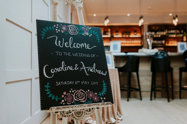 Chalkboard Wedding Sign | Wedding Decor | Coppa Club, Sonning | Benjamin Stuart Photography