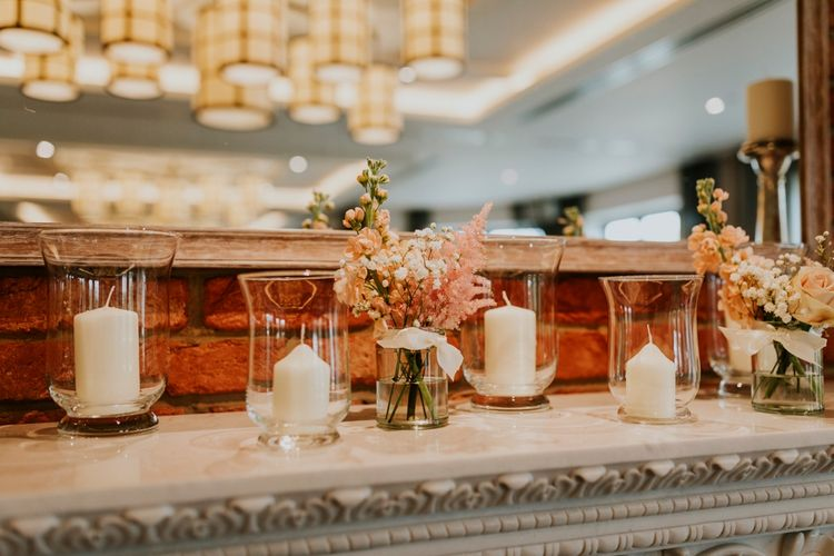 Flower Stems in Jars & Hurricane Vases with Candles | Wedding Decor | Coppa Club, Sonning | Benjamin Stuart Photography