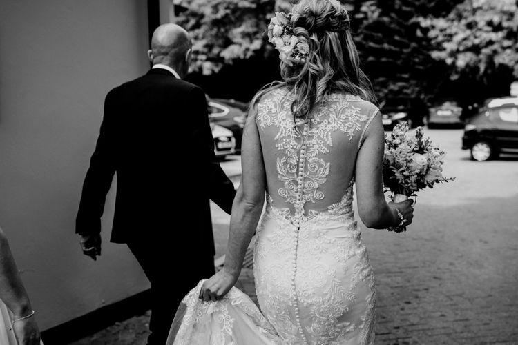 Bridal Entrance | Wedding Ceremony | Coppa Club, Sonning | Lace Lillian West Wedding Dress | Benjamin Stuart Photography