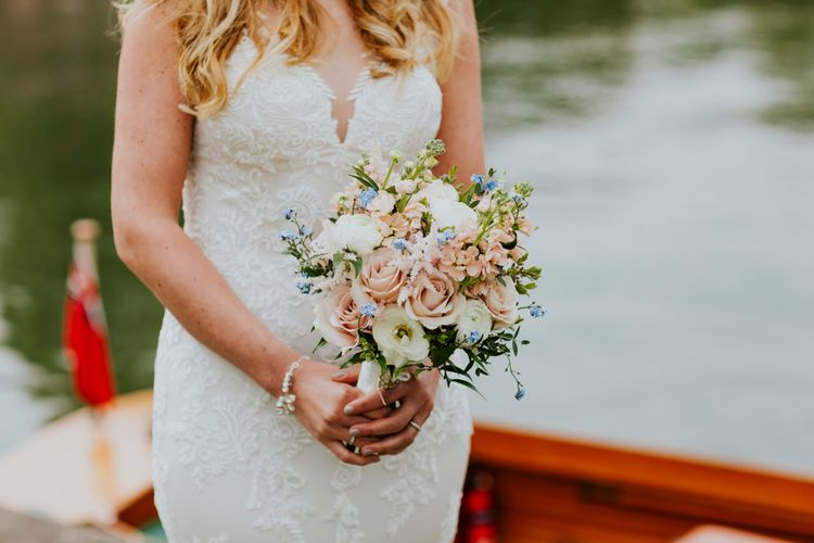 Blush Pink Wedding Bouquet | Bride in Lace Lillian West Wedding Dress | Groom in T.M Lewin Navy Suit | Benjamin Stuart Photography