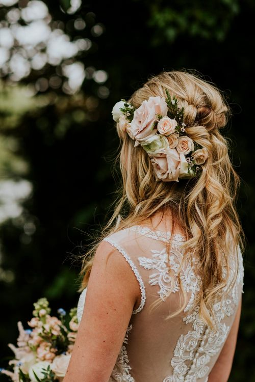 Bride in Lace Lillian West Wedding Dress | Bridal Up Do with Fresh Flowers | Benjamin Stuart Photography