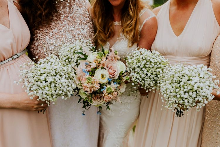 Gypsophila Bouquets | Bridesmaids in Highstreet Nude Dresses | Bride in Lace Lillian West Bridal Gown | Benjamin Stuart Photography