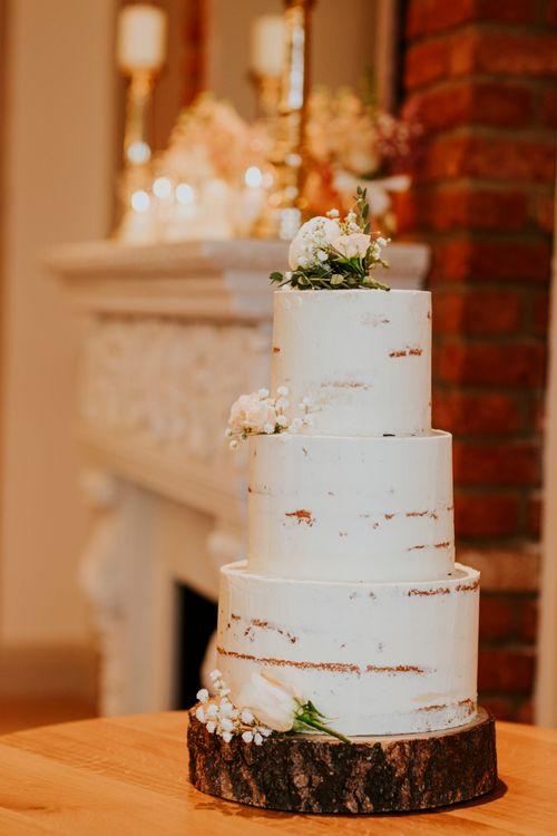 Semi Naked Wedding Cake | Coppa Club, Sonning Wedding | Benjamin Stuart Photography