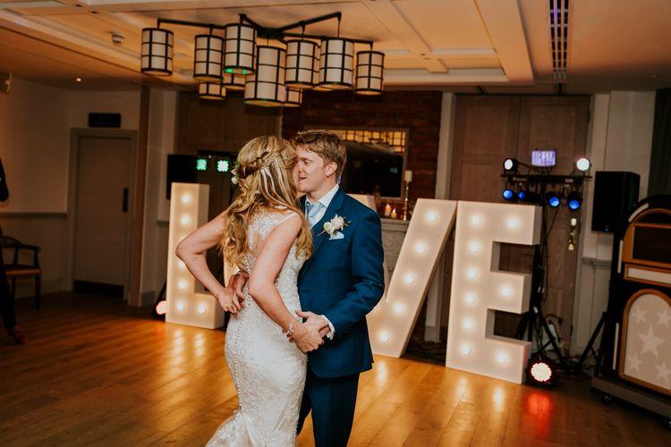 First Dance | Bride in Lace Lillian West Wedding Dress | Groom in T.M Lewin Navy Suit | Benjamin Stuart Photography