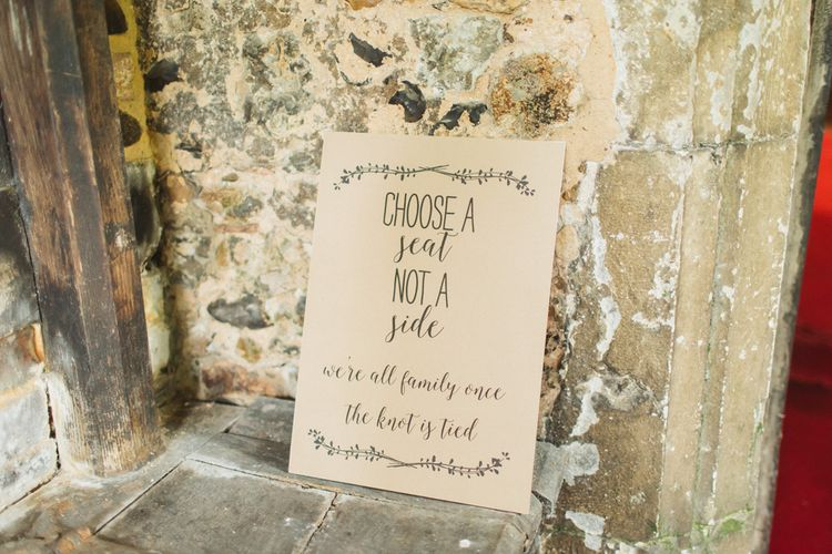 Choose a Seat Not A Side Wedding Sign