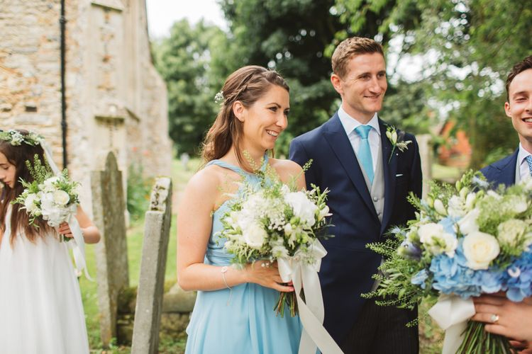 Wedding Party in Blue Dresses & Matching Ties