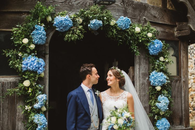 Blue Hydrangea Church Floral Arch