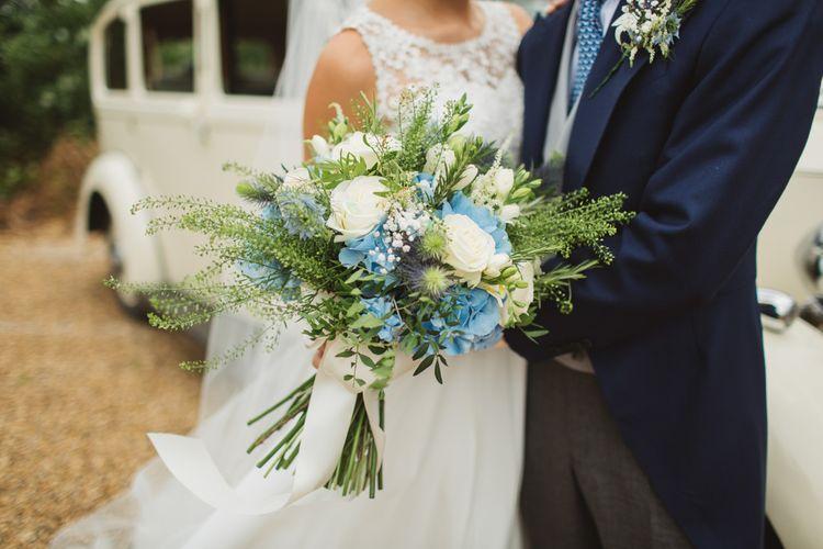 Blue & White Hydrangea & Stock Bouquet