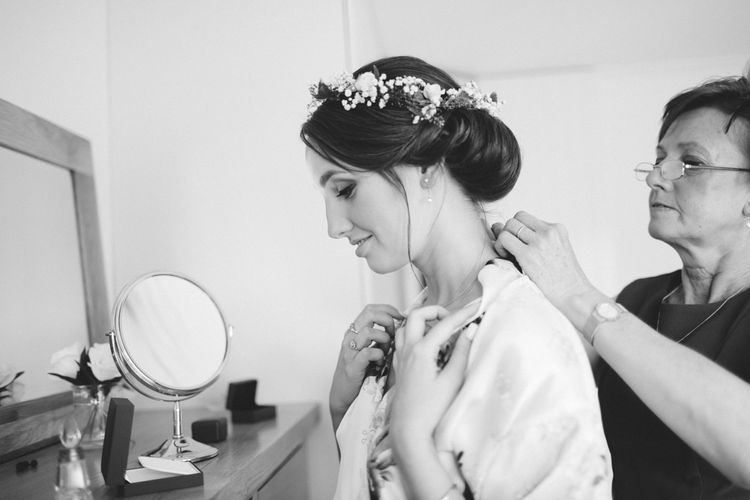 Chic Chignon & Flower Crown Bridal Up Do
