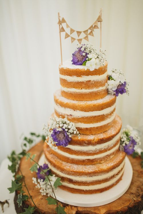 Naked Wedding Cake Decorated with Flowers