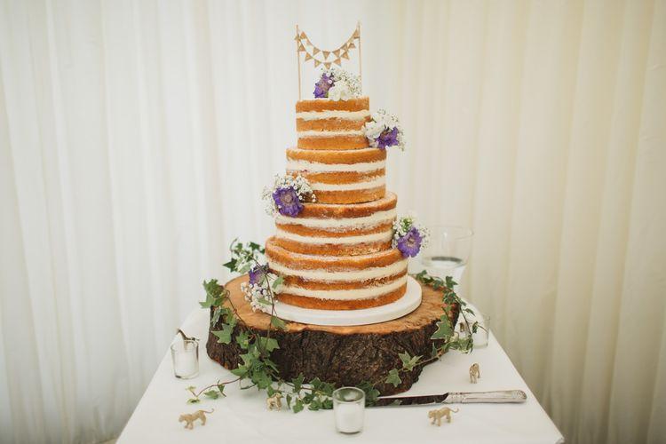 Naked Wedding Cake on a Tree Stump Cake Stand