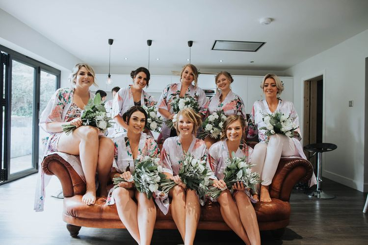 Bridal Preparations with Matching Robes   White & Green Outdoor Wedding at The Red Barn, Kent   Olegs Samsonovs Photography