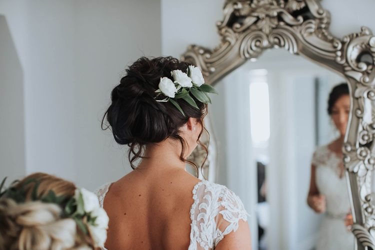Bridal Up Do with Fresh Flowers   Bride in Justin Alexander Gown   White & Green Outdoor Wedding at The Red Barn, Kent   Olegs Samsonovs Photography