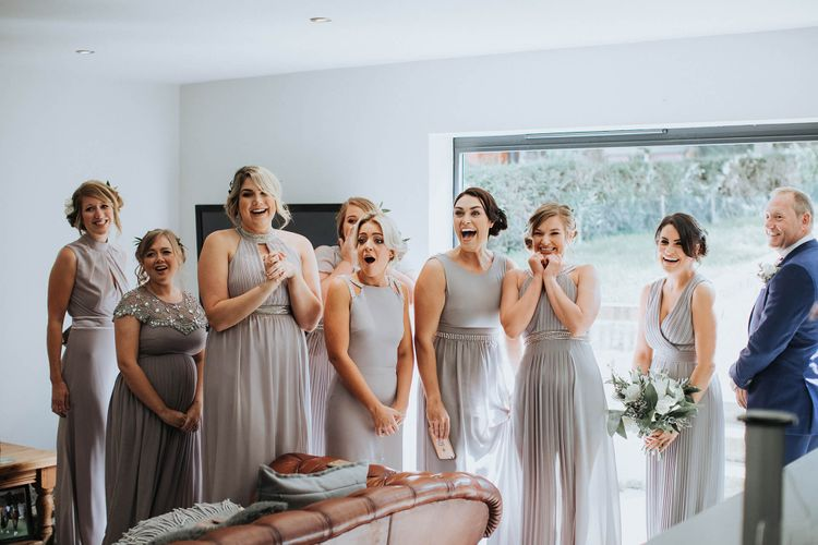 Bridesmaids in Lilac TFNC Dresses   White & Green Outdoor Wedding at The Red Barn, Kent   Olegs Samsonovs Photography