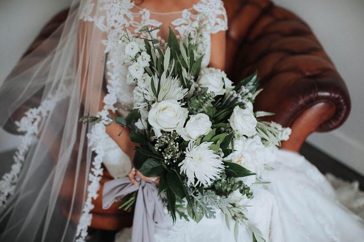White Rose & Dahlia Wedding Bouquet   Bride in Justin Alexander Gown   White & Green Outdoor Wedding at The Red Barn, Kent   Olegs Samsonovs Photography