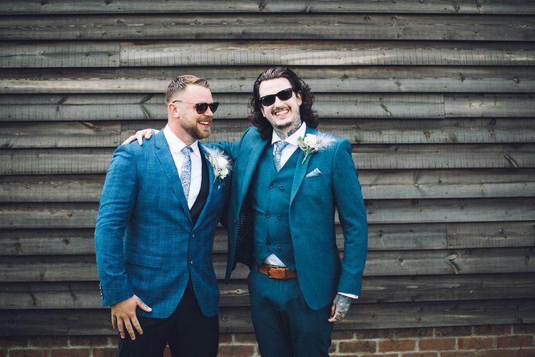Groom in Navy Check Hugo Boss Suit   Groomsman in ASOS Suit   White & Green Outdoor Wedding at The Red Barn, Kent   Olegs Samsonovs Photography
