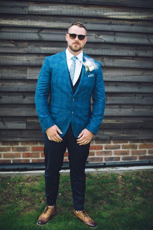 Groom in Navy Check Hugo Boss Suit   White & Green Outdoor Wedding at The Red Barn, Kent   Olegs Samsonovs Photography